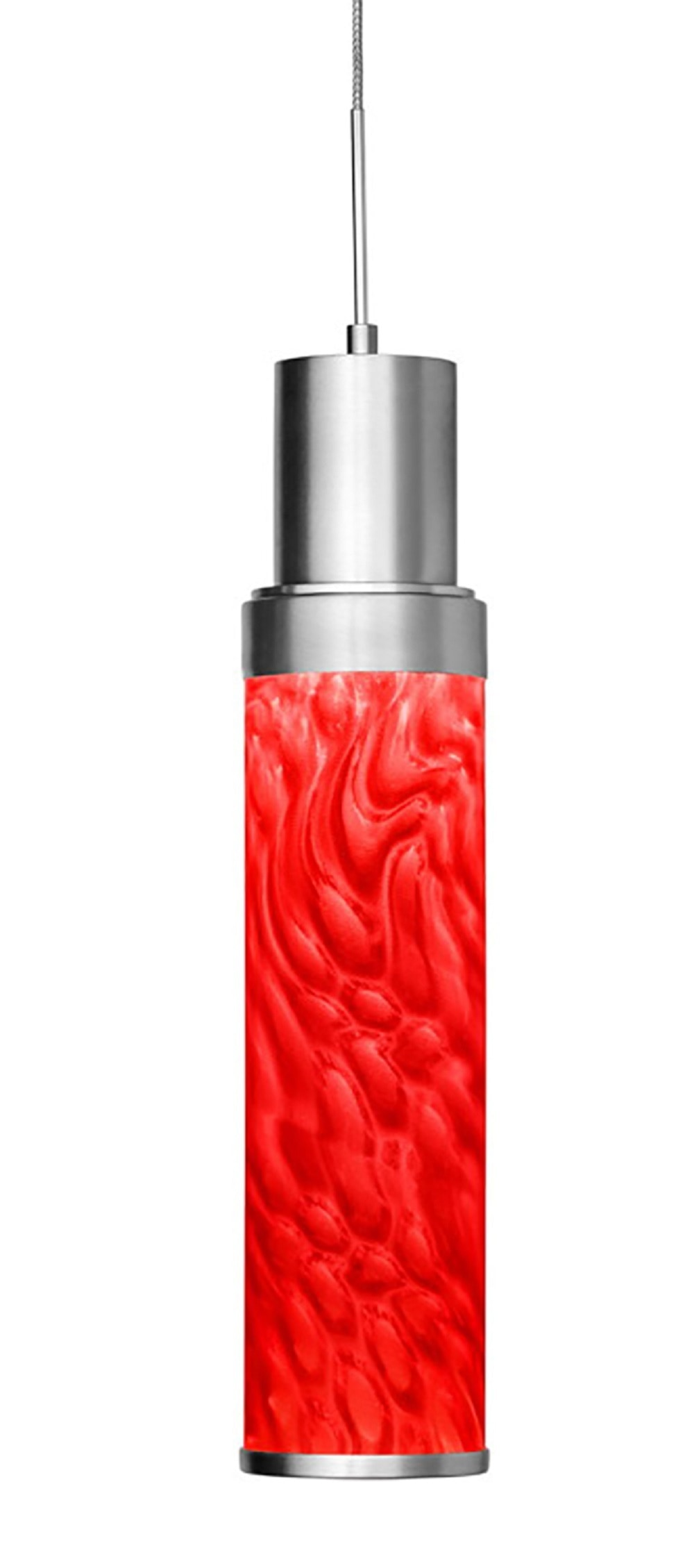 Satin Nickel / Indoor / Lighting Heart 1-Light Satin Nickel Pendant with Red Film 0