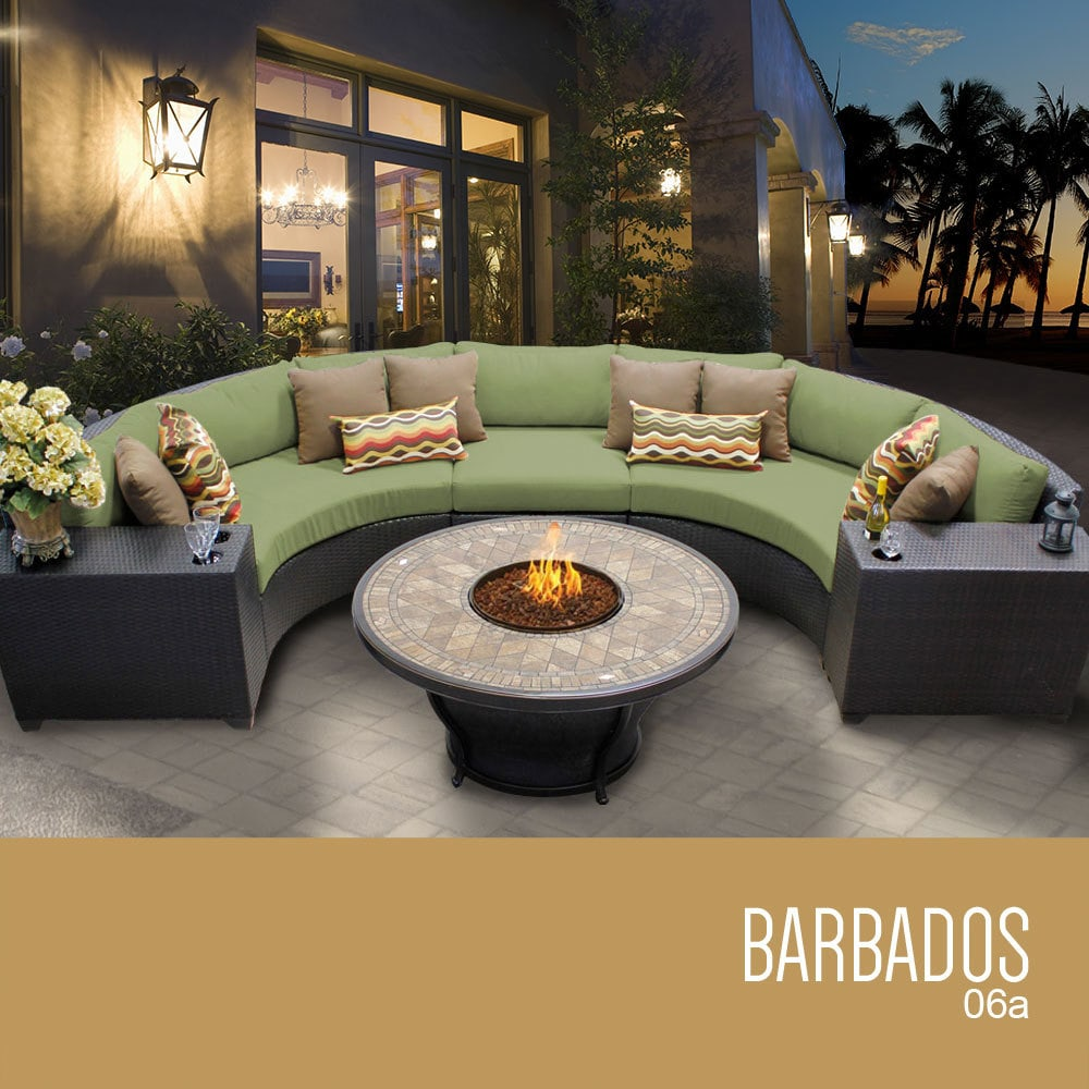 Tk Classics Barbados Collection Outdoor Wicker Patio Furniture Set 06a 6 Piece Cilantro