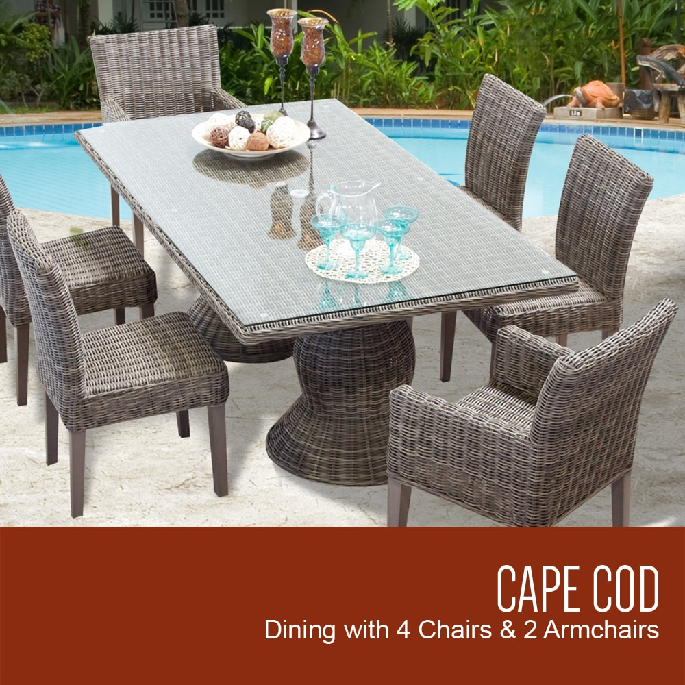TK Classics Cape Cod Collection Outdoor Dining Table W/4