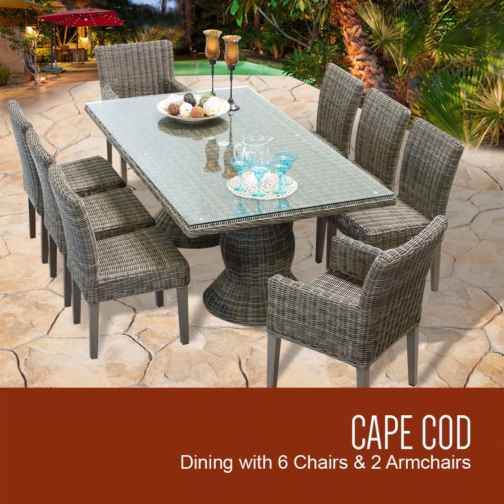 TK Classics Cape Cod Collection Patio Dining Table With 6