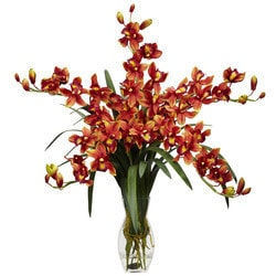 Nearly Natural - Cymbidium Orchid Silk Flower Arrangement