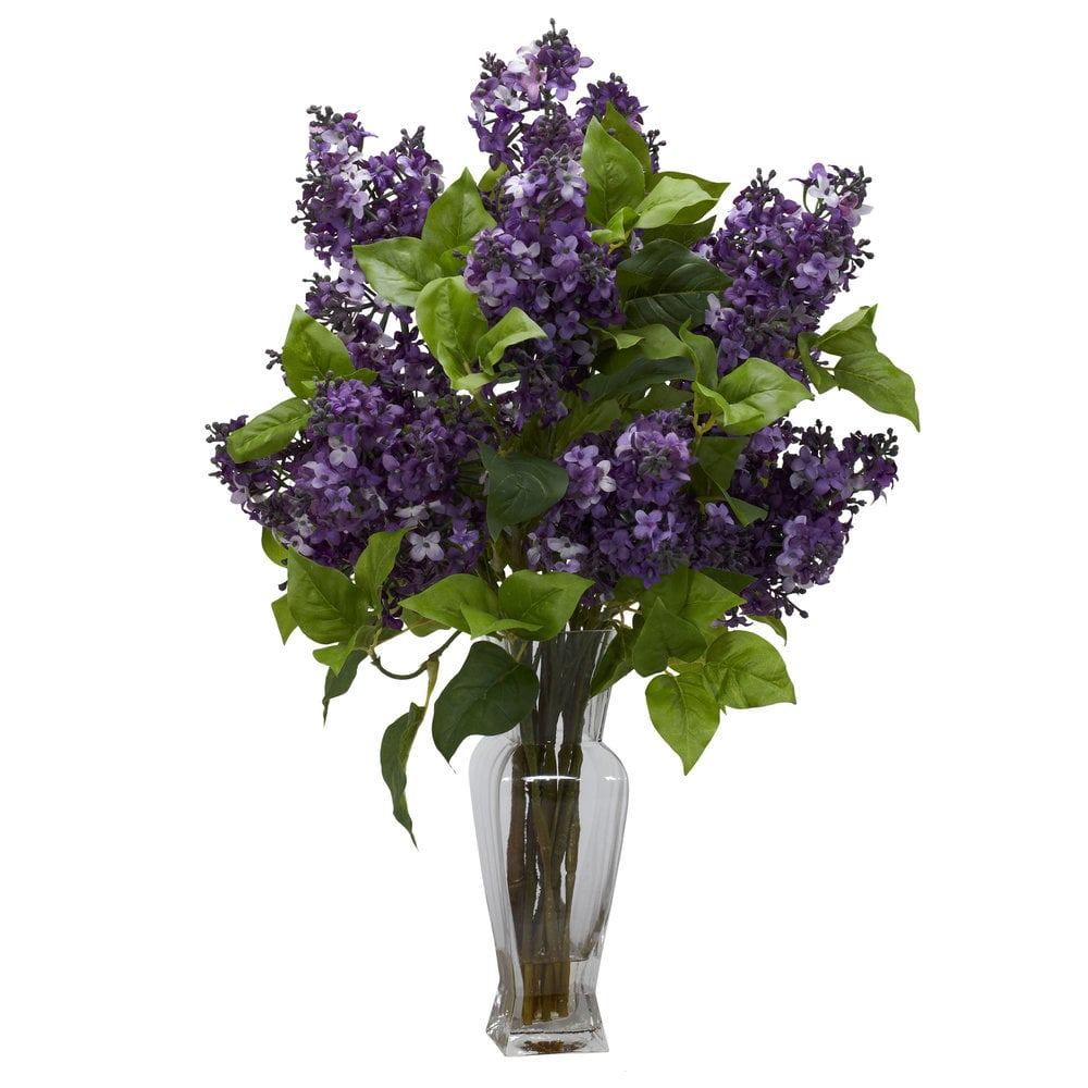 Nearly Natural Lilac Silk Flower Arrangement Faux Floral Arrangement