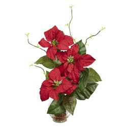 Nearly Natural - Poinsettia w/Fluted Vase Silk Flower Arrangement