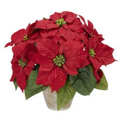 Nearly Natural - Poinsettia w/Ceramic Vase Silk Flower Arrangement