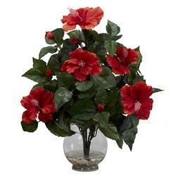 Nearly Natural - Hibiscus w/Fluted Vase Silk Flower Arrangement
