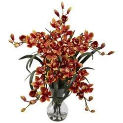 Nearly Natural - Large Cymbidium w/Vase Arrangement