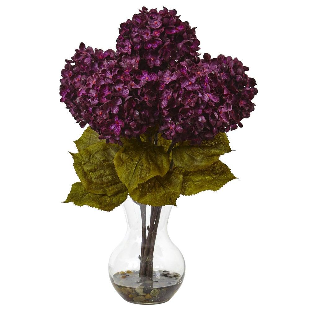 Nearly Natural 18h Hydrangea Silk Flower Arrangement With Glass