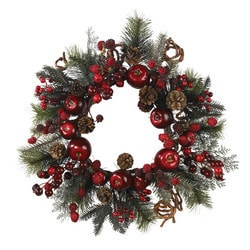 """Nearly Natural - 22"""""""" Apple Berry Wreath"""
