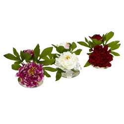 Nearly Natural - Peony w/Glass Vase (Set of 3)