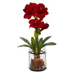 "Nearly Natural - 24"" Amaryllis w/Vase"