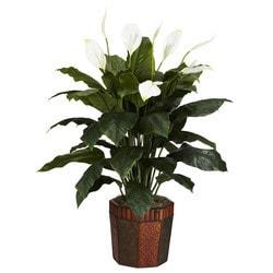 Nearly Natural - Spathiphyllum w/Vase Silk Plant