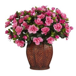 Nearly Natural - Azalea w/Vase Silk Plant