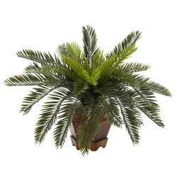 Nearly Natural - Cycas w/Hexagon Vase Silk Plant