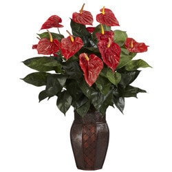 Nearly Natural - Anthurium w/Vase Silk Plant