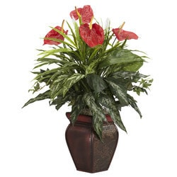 Nearly Natural - Mixed Greens & Anthurium w/Decorative Vase Silk Plant