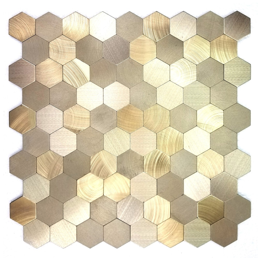 Abolos Enchanted Metals Aluminum Gold Hexagon Peel and Stick Mosaic ...