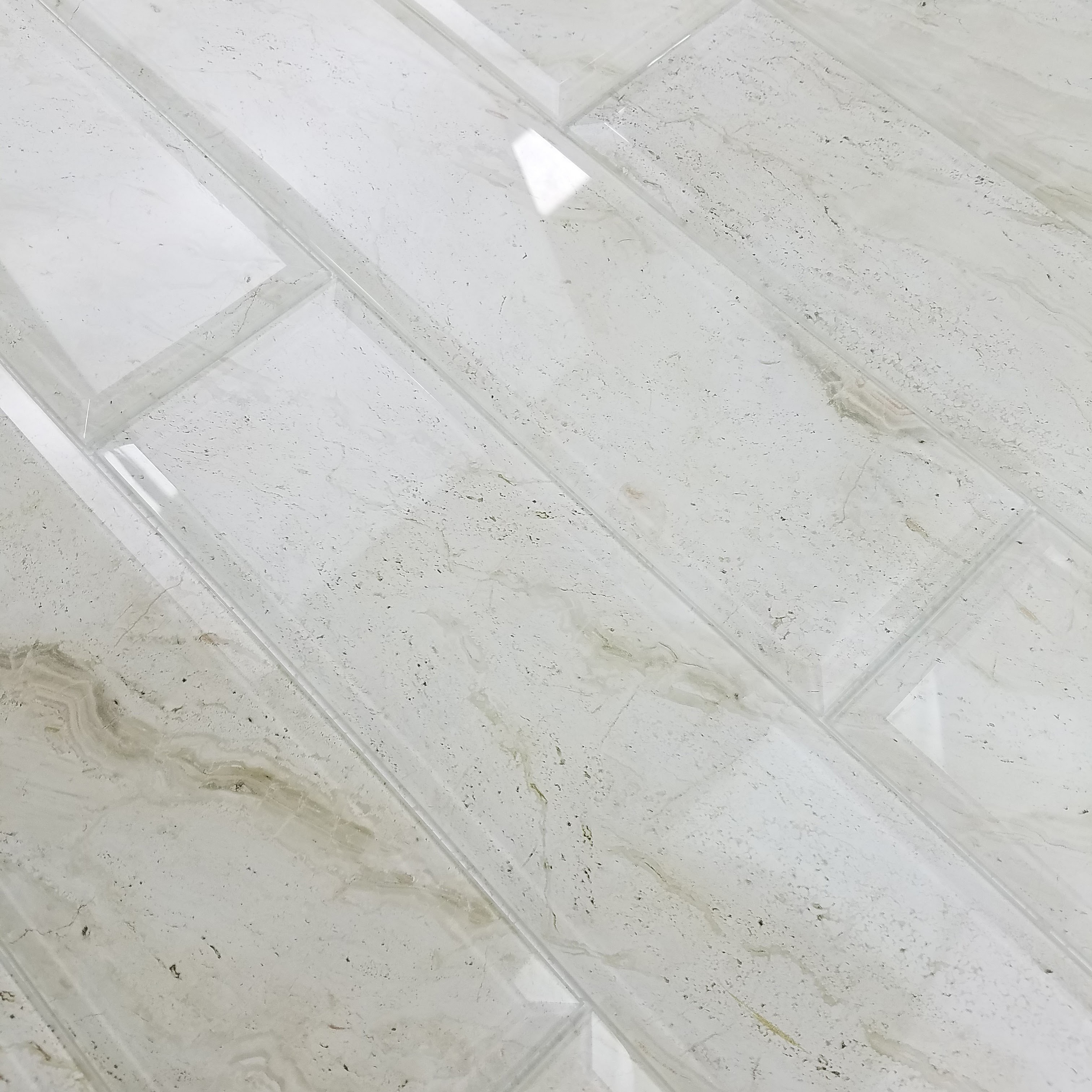 """Peel and Stick Crema Marfil Beveled Edge Glossy / 4""""x16"""" / Glossy Nature Collection 0"""