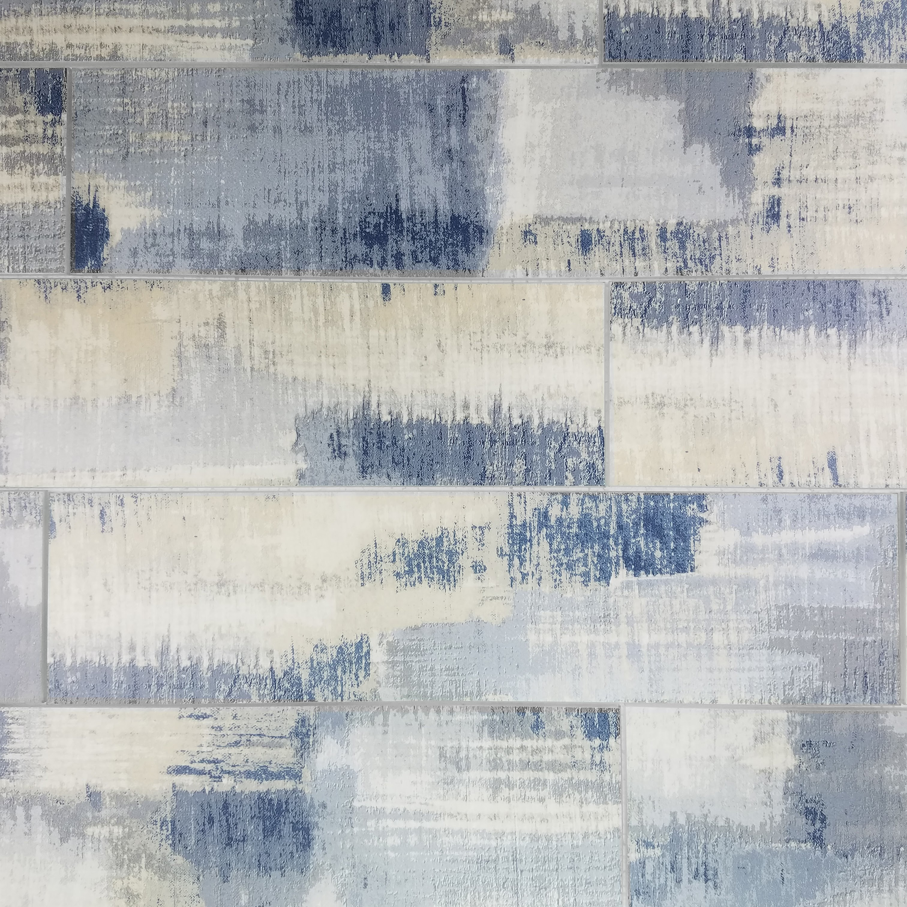 """Peel and Stick Cement Blue Straight Edge Glossy / 4""""x16"""" / Flat Nature Collection 0"""