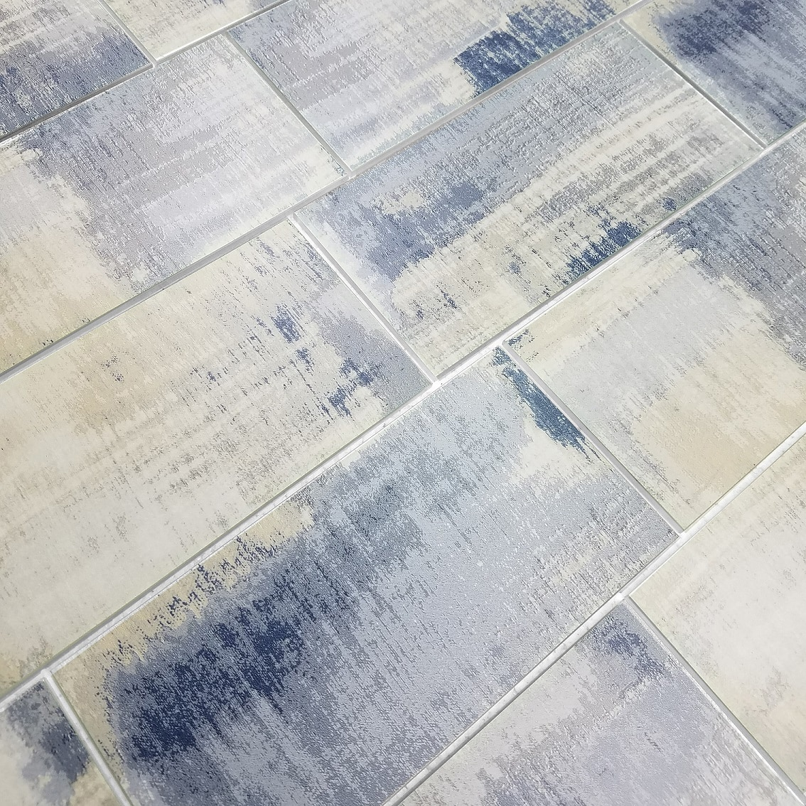 """Peel and Stick Cement Blue Straight Edge Glossy / 8""""x16"""" / Flat Nature Collection 0"""