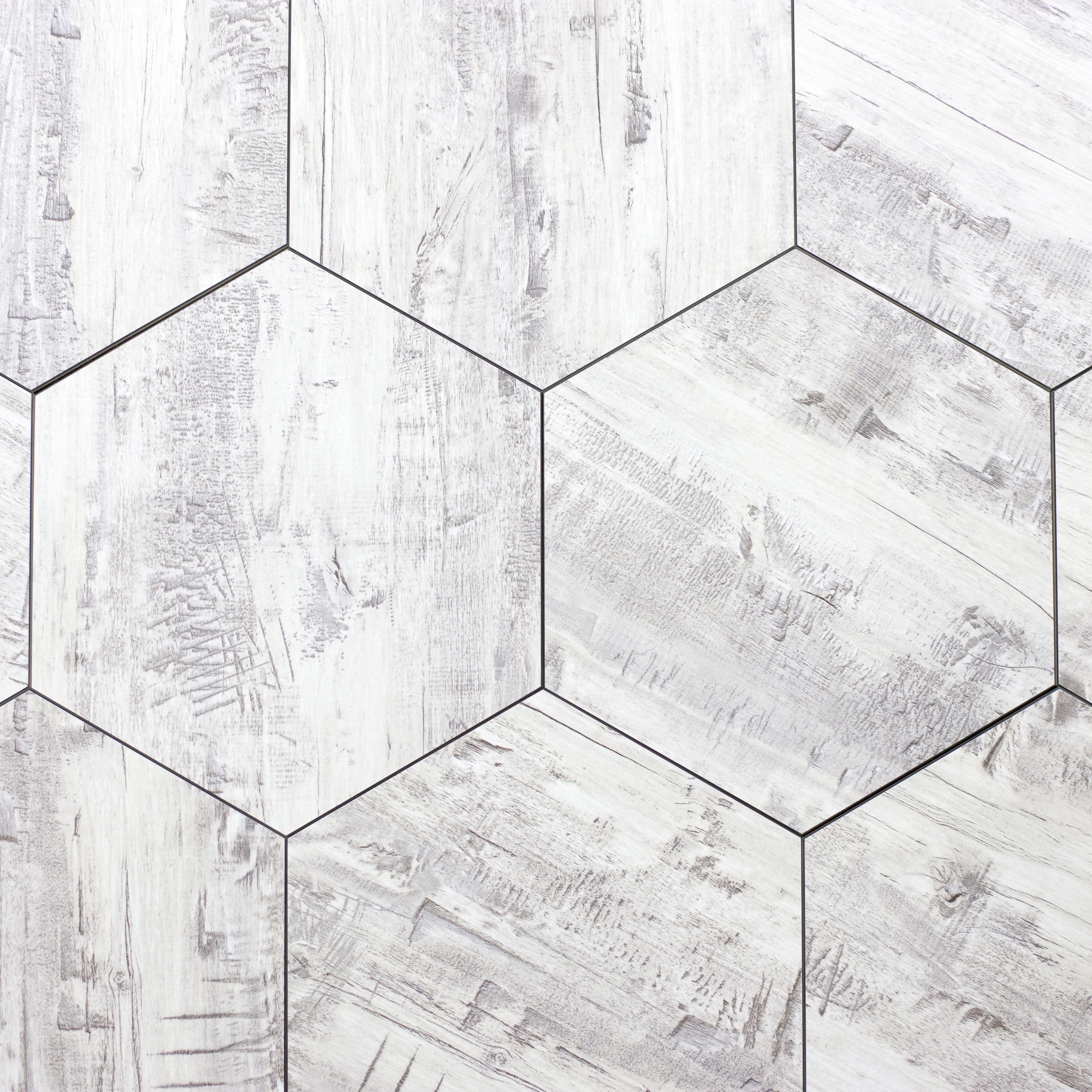 "Birchwood Gray Hexagon Straight Edge Glossy / 9.2""x8"" / Flat Nature Collection 0"
