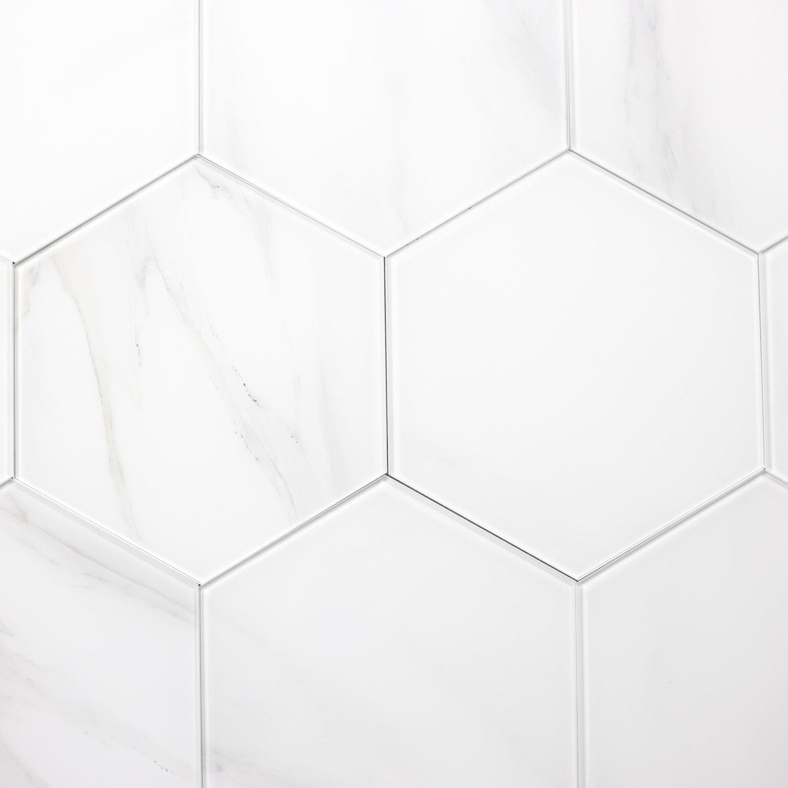 "Calacatta Hexagon Straight Edge Glossy / 9.2""x8"" / Glossy Nature Collection 0"