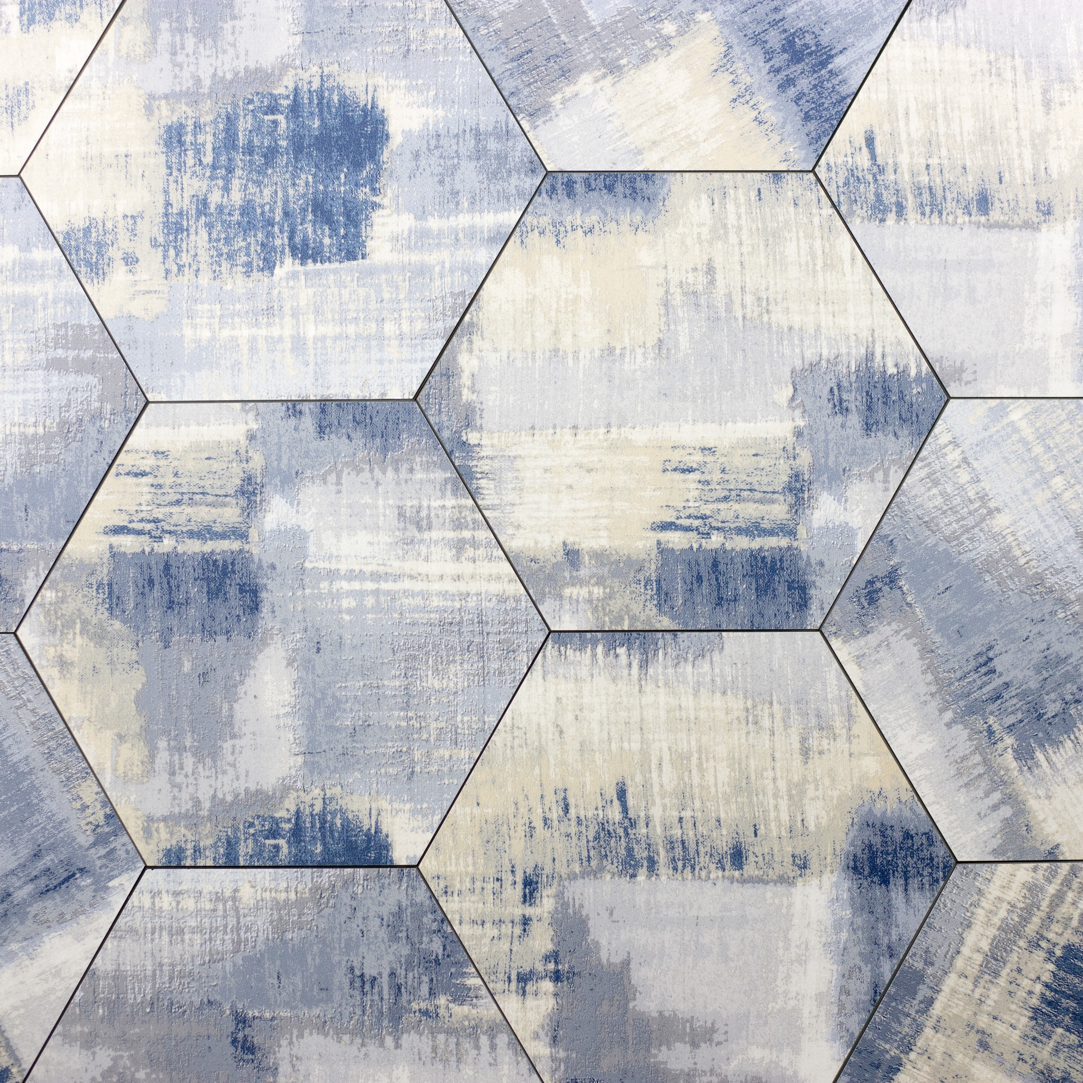 """Peel and Stick Cement Blue Hexagon Straight Edge Glossy / 9.2""""x8"""" / Flat Nature Collection 0"""