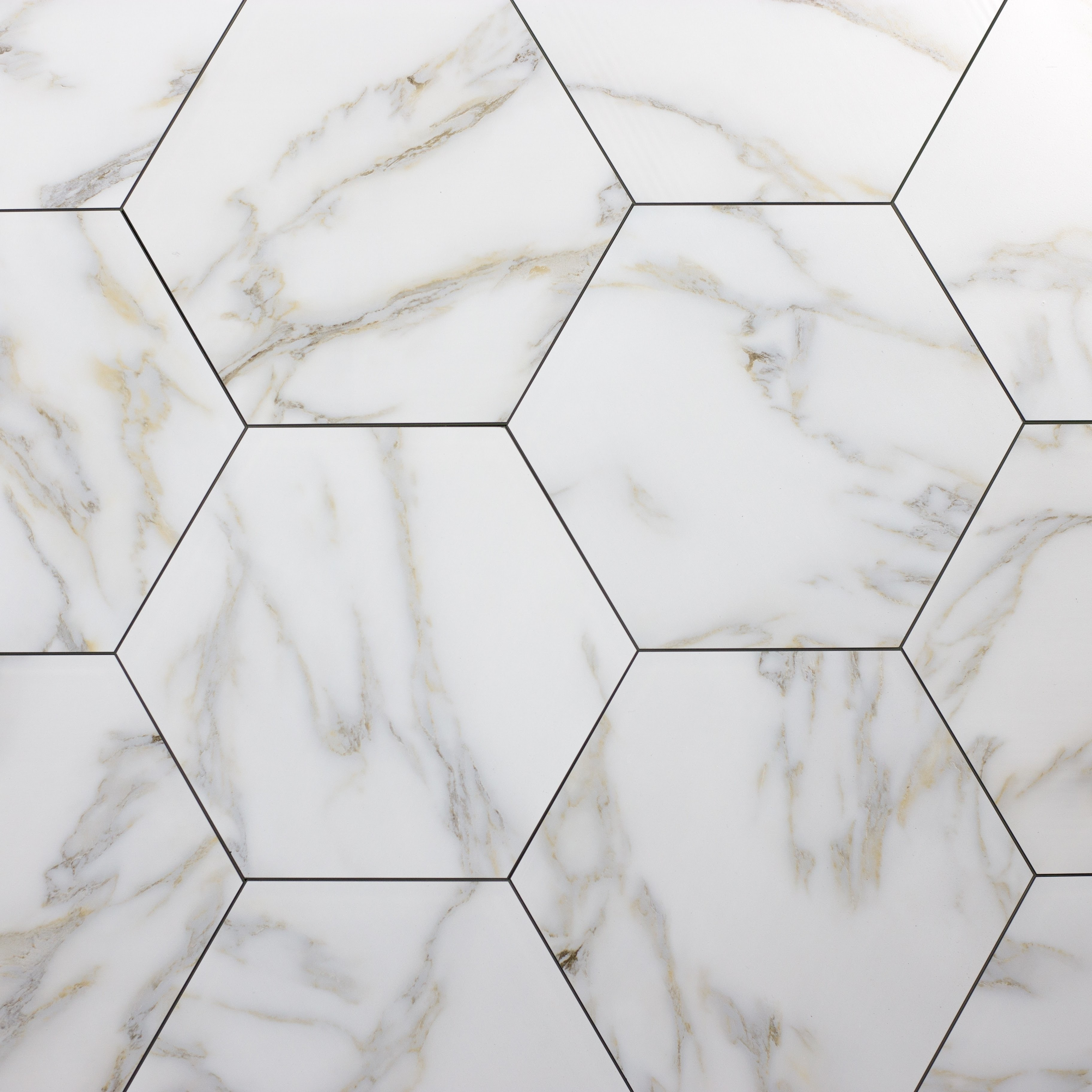 """Peel and Stick Calacatta Gold Hexagon Straight Edge Glossy / 9.2""""x8"""" / Flat Nature Collection 0"""