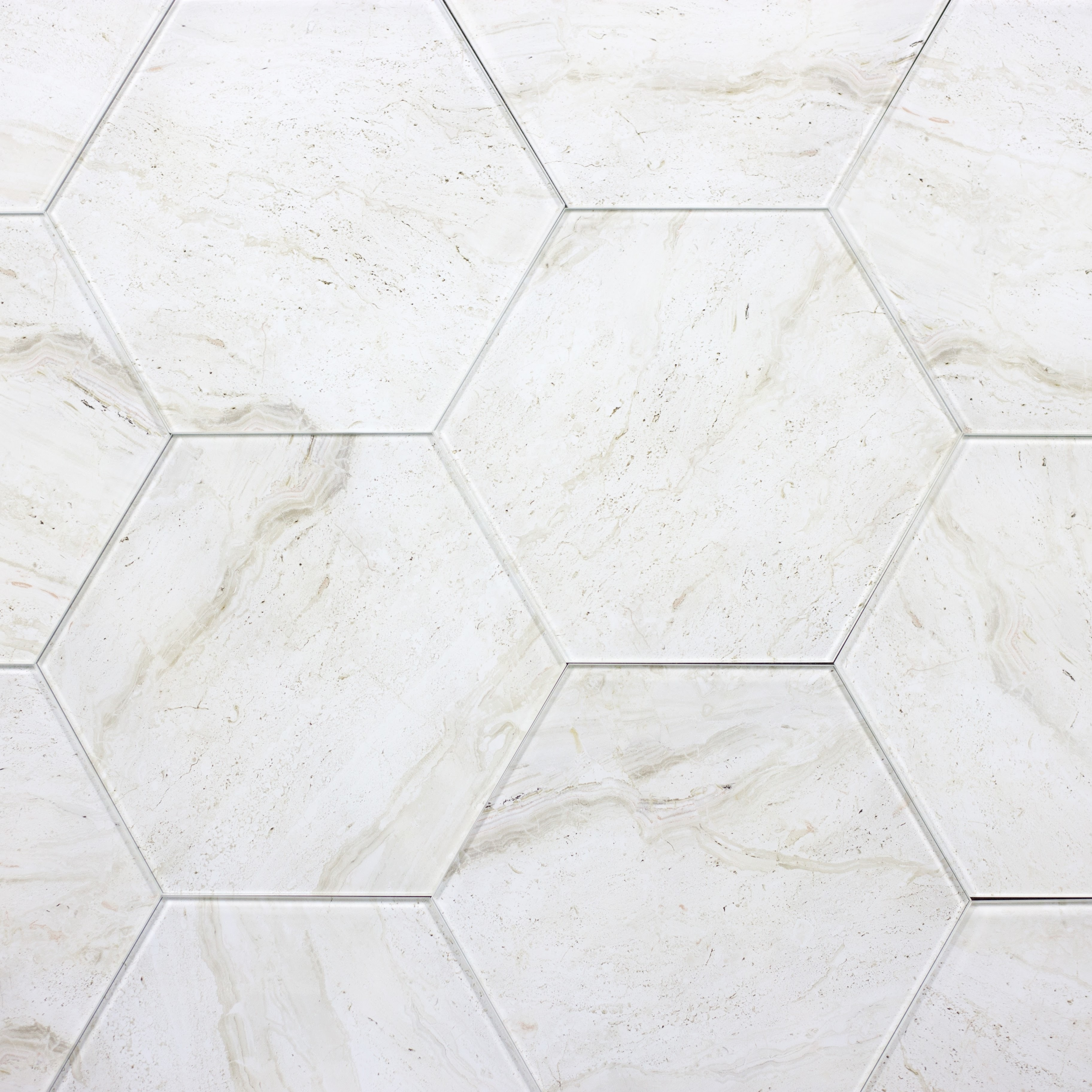 """Peel and Stick Crema Marfil Hexagon Straight Edge Glossy / 9.2""""x8"""" / Glossy Nature Collection 0"""