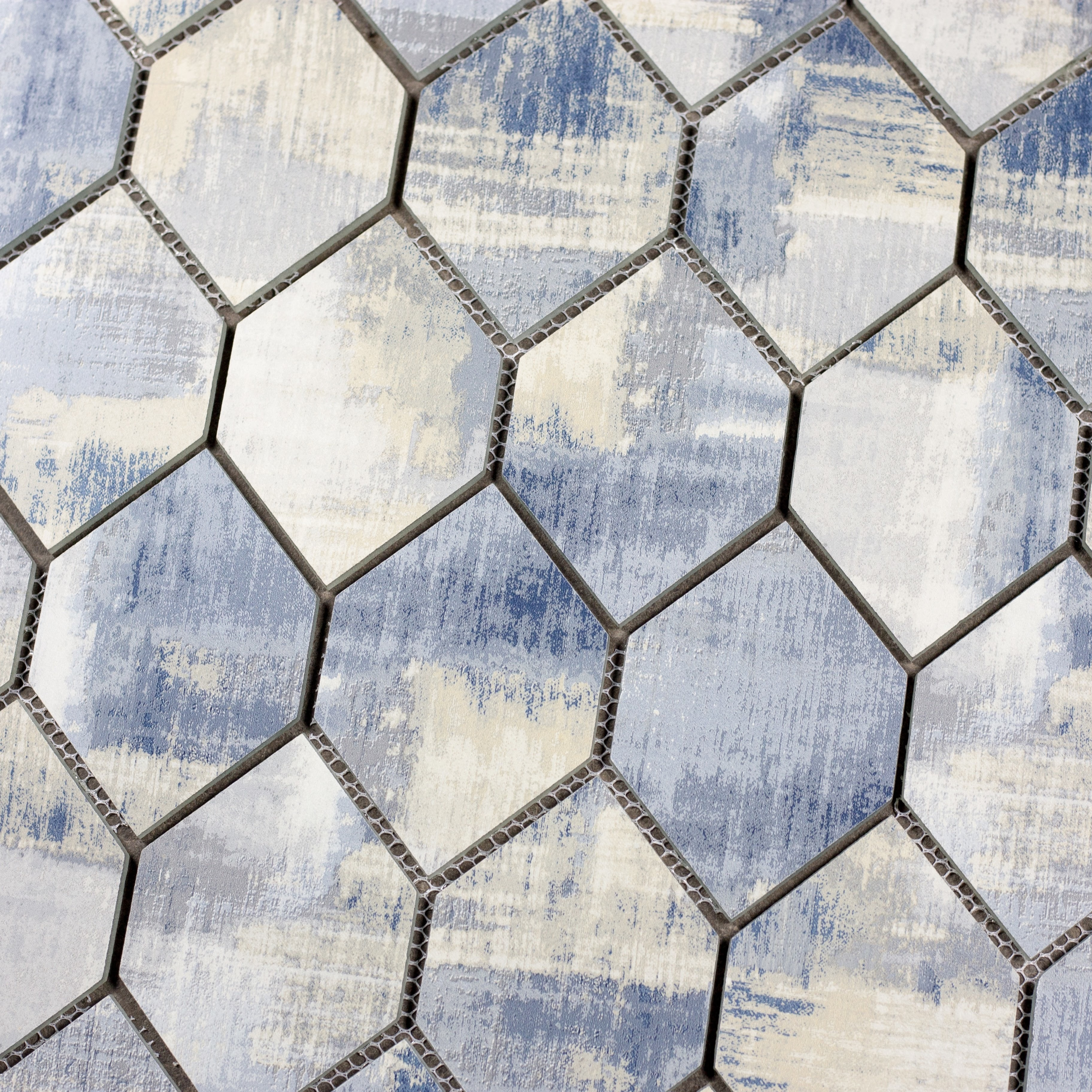 """Cement Blue Honeycomb Waterjet / 12""""x9"""" / Flat Nature Collection 0"""