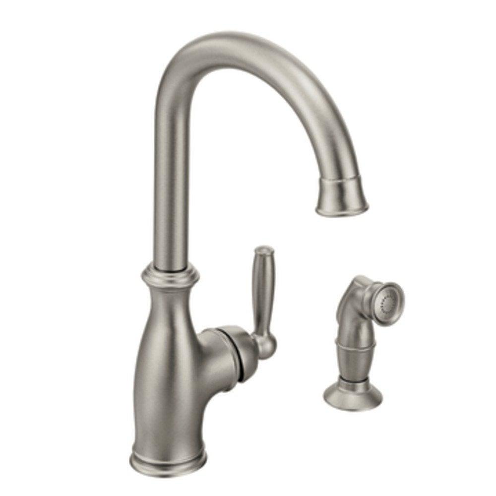 moen brantford single handle with side spray kitchen