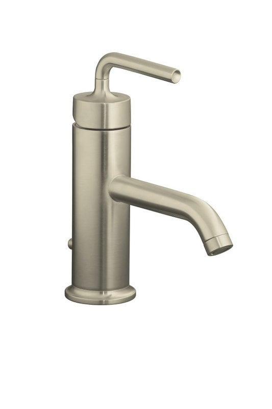 Kohler Purist Single Handle With Metal Pop Up Drain Bathroom Faucet Brushed Nickel K 14402