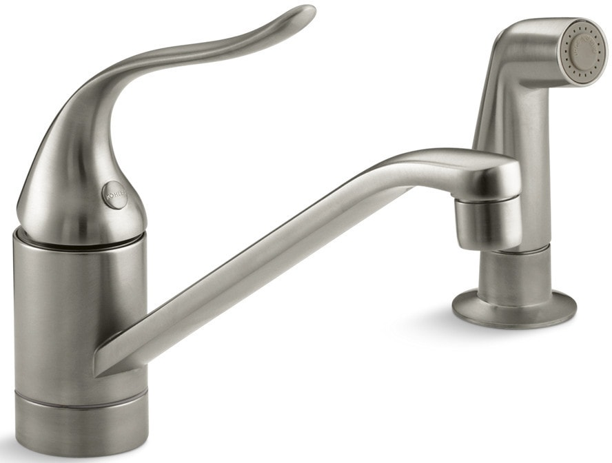 Kohler coralais single handle deck mounted with side for Kitchen faucet recommendations