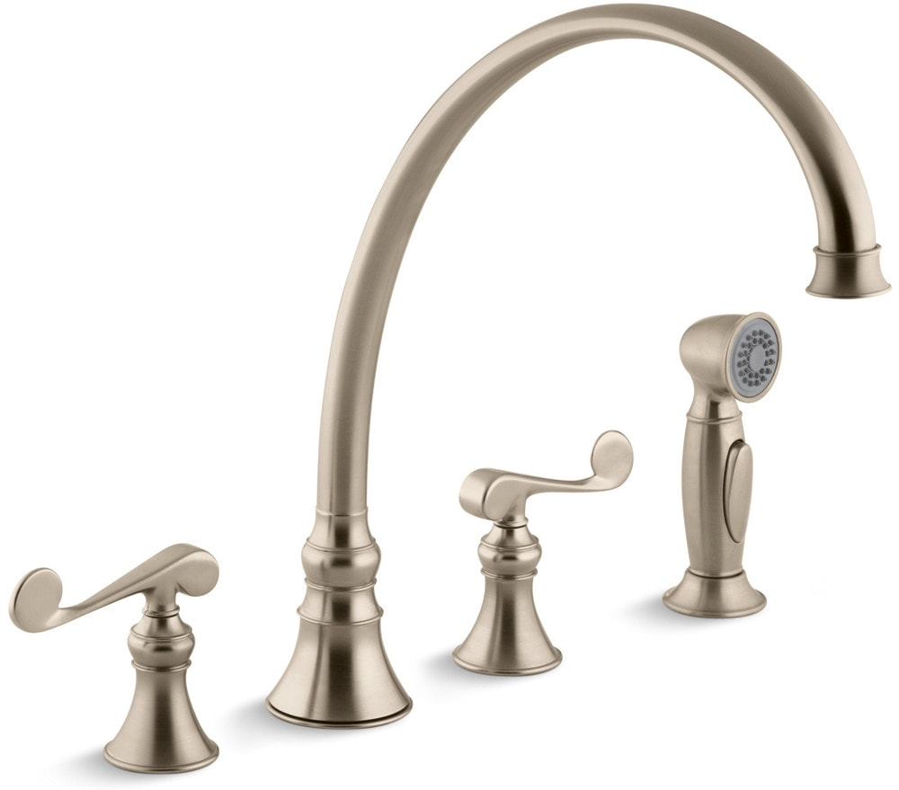 Kohler revival double handle with sidespray kitchen faucet brushed chrome k 16111 4 bv for Kohler revival bathroom faucet
