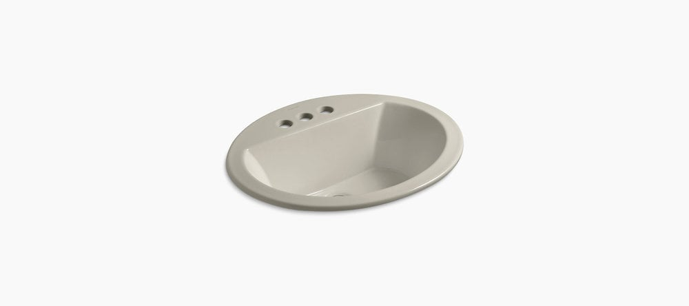 kohler bryant oval drop in w 4 centerset faucet holes sandbar bathroom sink k 2699 4 g9. Black Bedroom Furniture Sets. Home Design Ideas