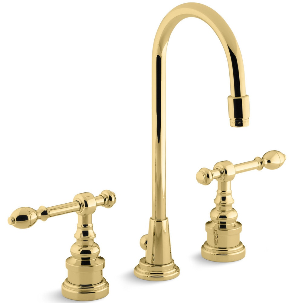 Kohler Georges Brass Widespread With Ultra Glide Bathroom Faucet Polished Brass K 6813 4 Pb