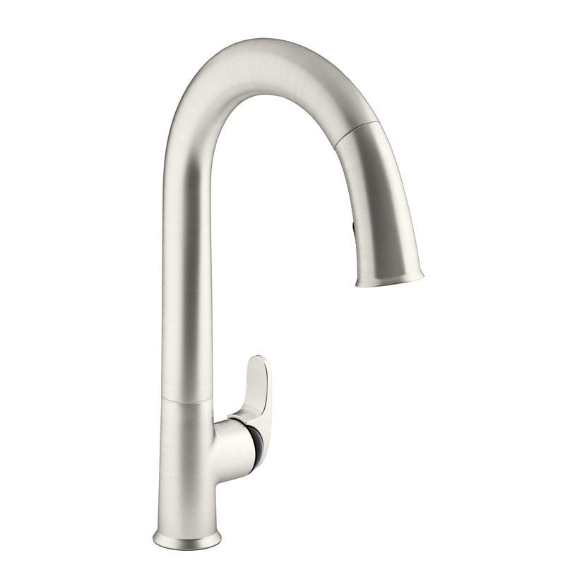kohler sensate touchless pull with black accents and