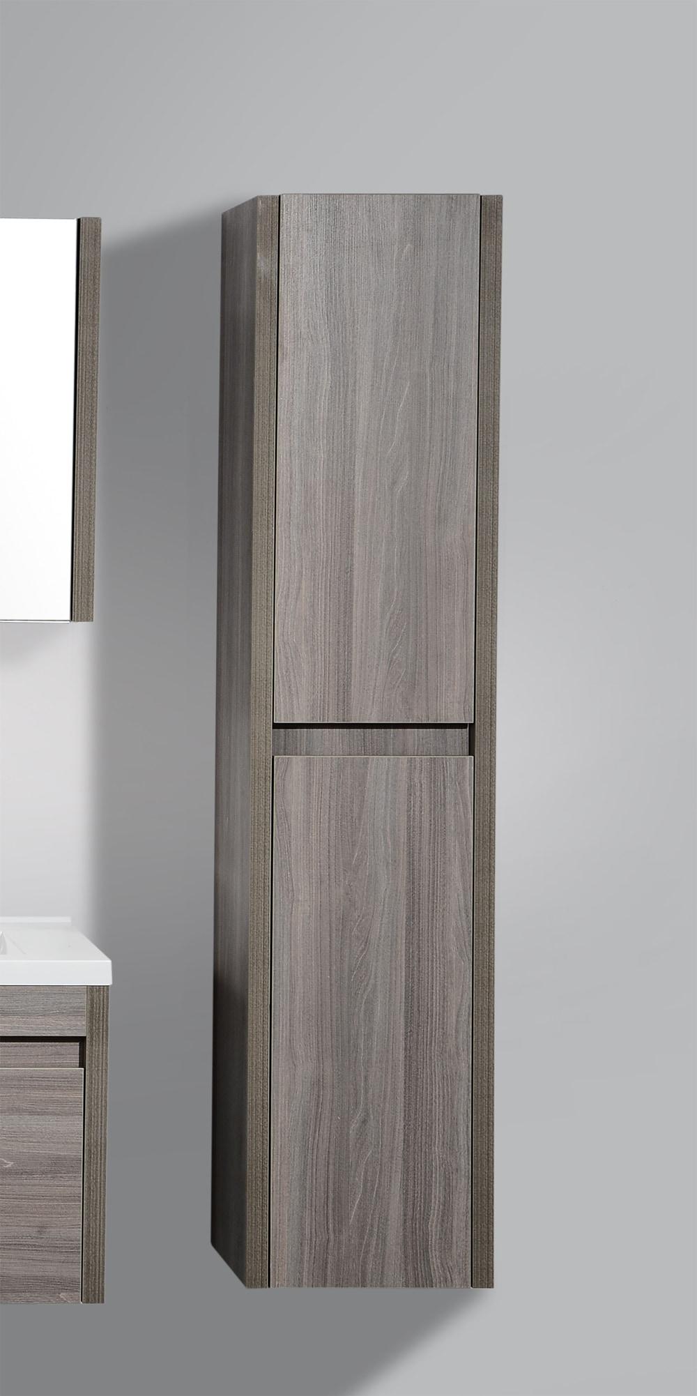 "Modern / 15.75"" x 13.8"" x 70"" / Wall-Hung / Maple Grey Wood Imitation / Soft-Closing / Melamine Bathroom Side Cabinets - Labrador Maple Grey Collection 0"