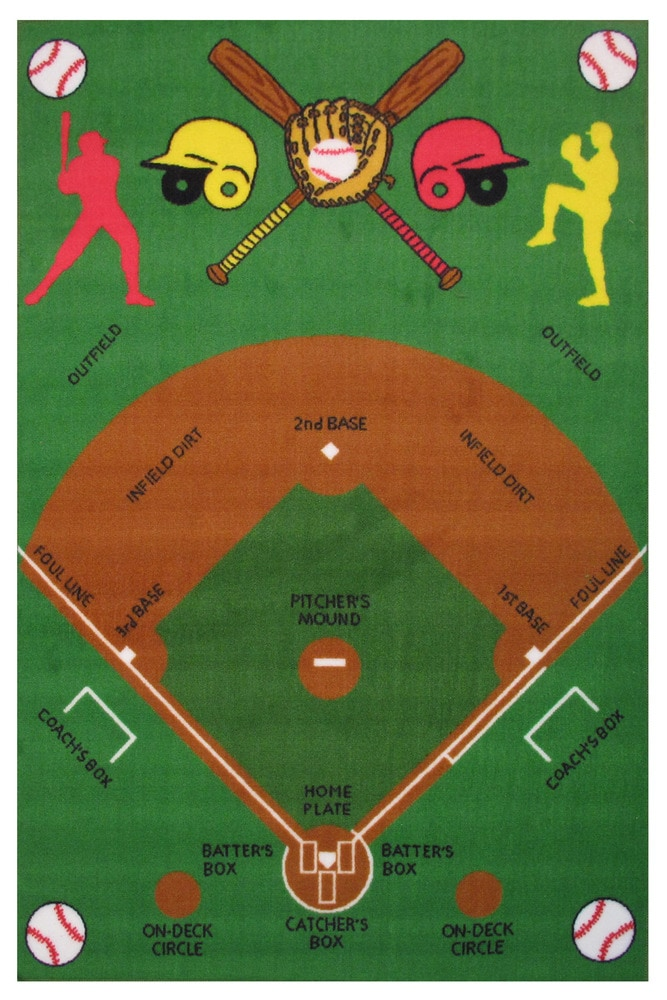 Fun Rugs Fun Time Fun Time Baseball Field Area Rug Ft 122