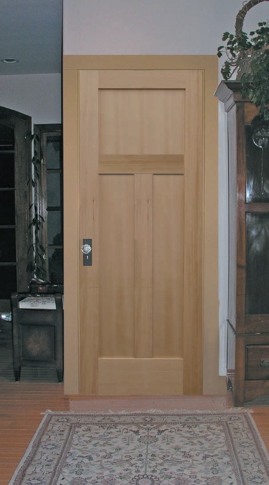 Room Scene - Bathroom View & Viewpoint Doors VG Hemlock 3 Panel Mission Shaker Vertical Grain ...