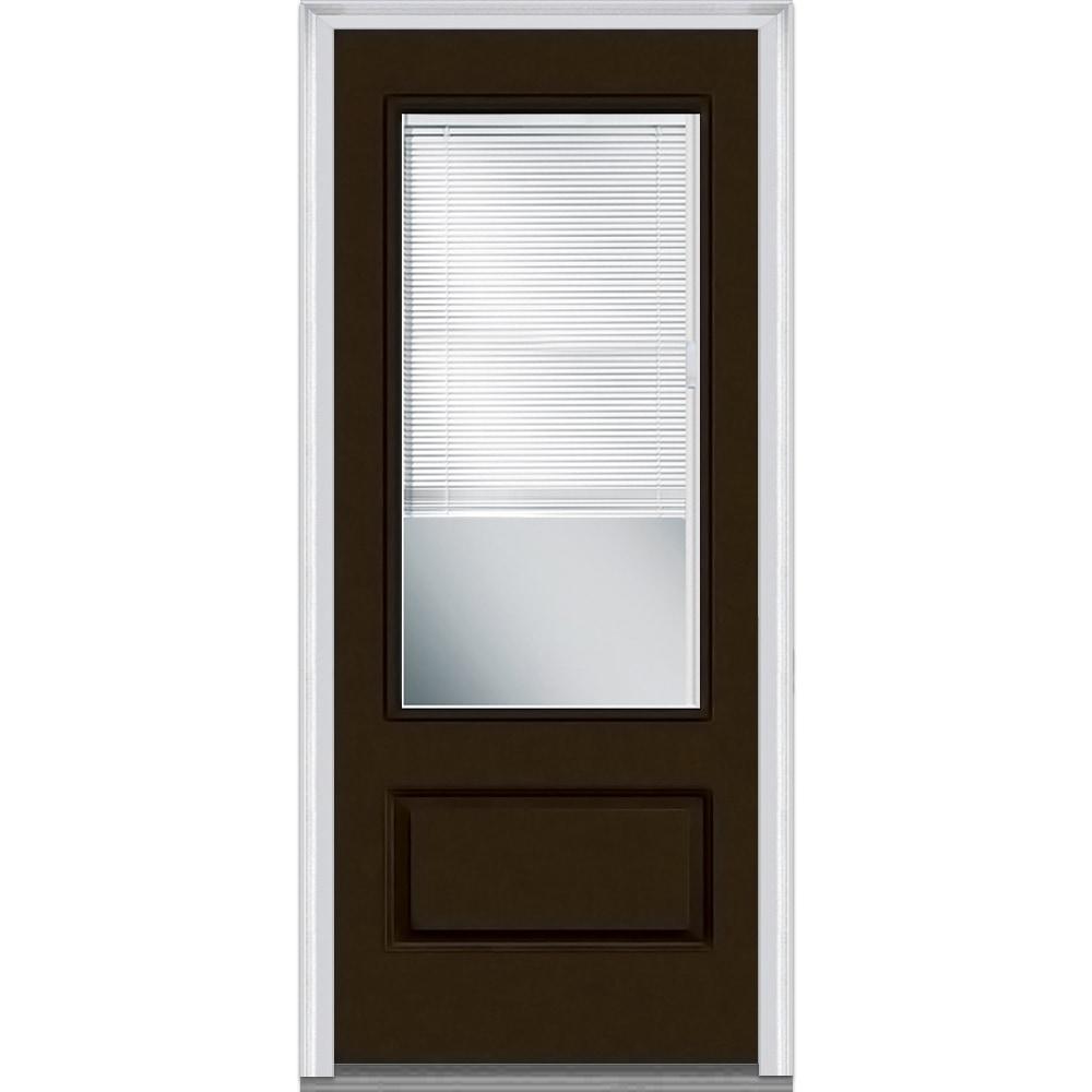 Doorbuild Internal Blinds Collection Fiberglass Smooth Prehung Door Brown 37 5 3 4
