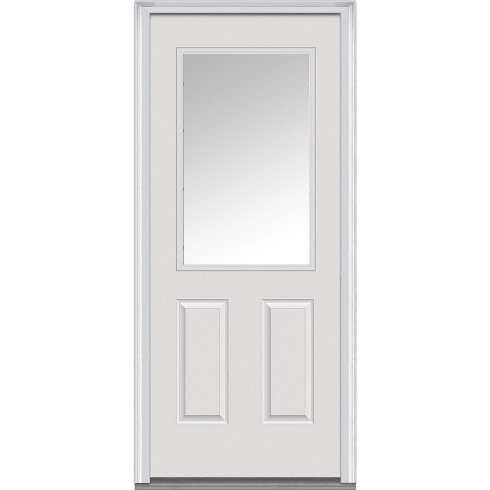 Doorbuild Clear Collection Fiberglass Smooth Prehung Door Primed 31 5 1 2 Lite 2