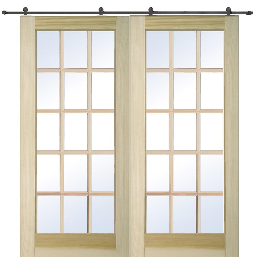 Doorbuild French Double Barn Door With Hardware Kit Poplar 60 X80 Poplar Clear 15 Lite