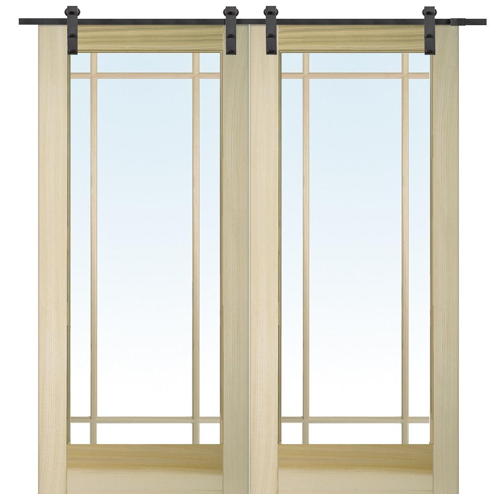 poplar_9_lite_double_door_bent_strap_kit_black__57f80a6cd5928  sc 1 st  BuildDirect & DoorBuild French Double Barn Door with Hardware Kit Poplar / 60\