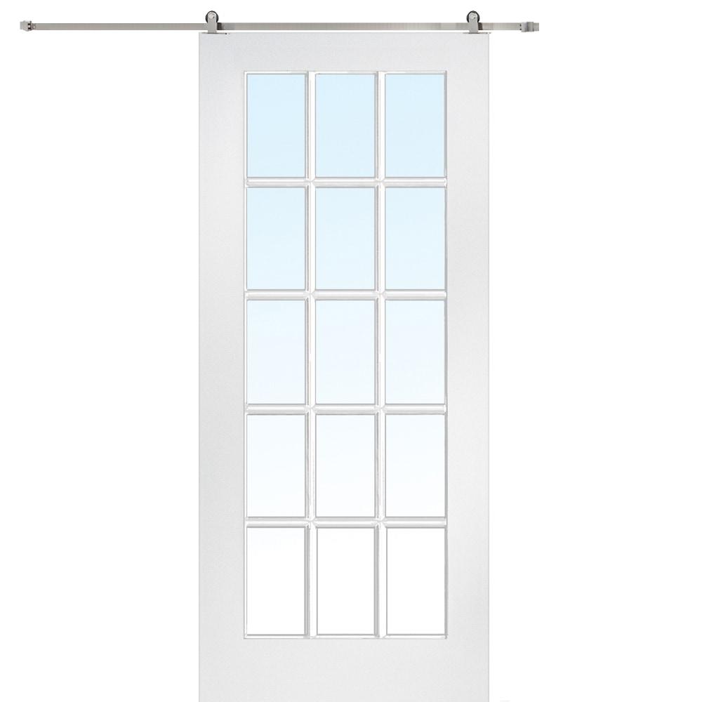 Doorbuild French Barn Door With Hardware Kit Mdf 32 X80 Primed Clear 15 Lite Z009559 Primed