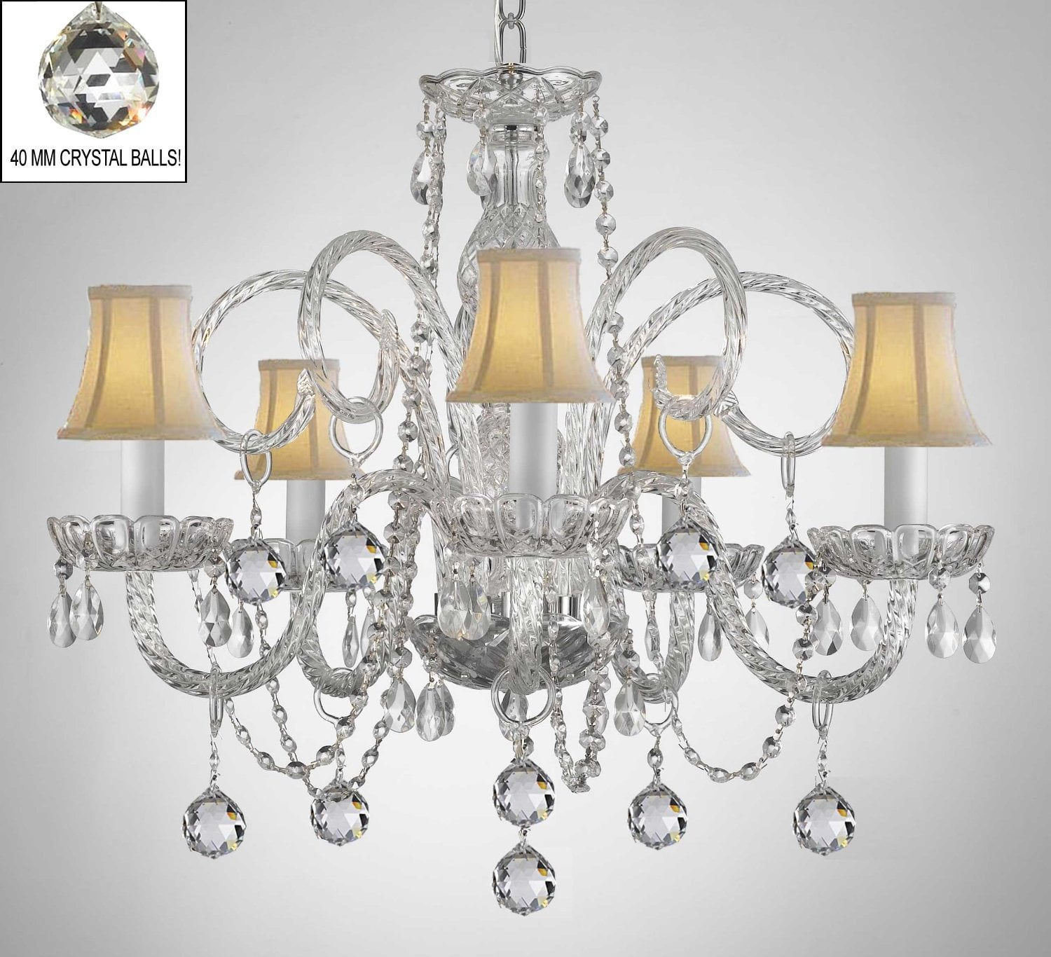 A46-B6/WHITESHADES/385/5 SW / LED Compatible / Indoor / 5 Lights Chandeliers 0
