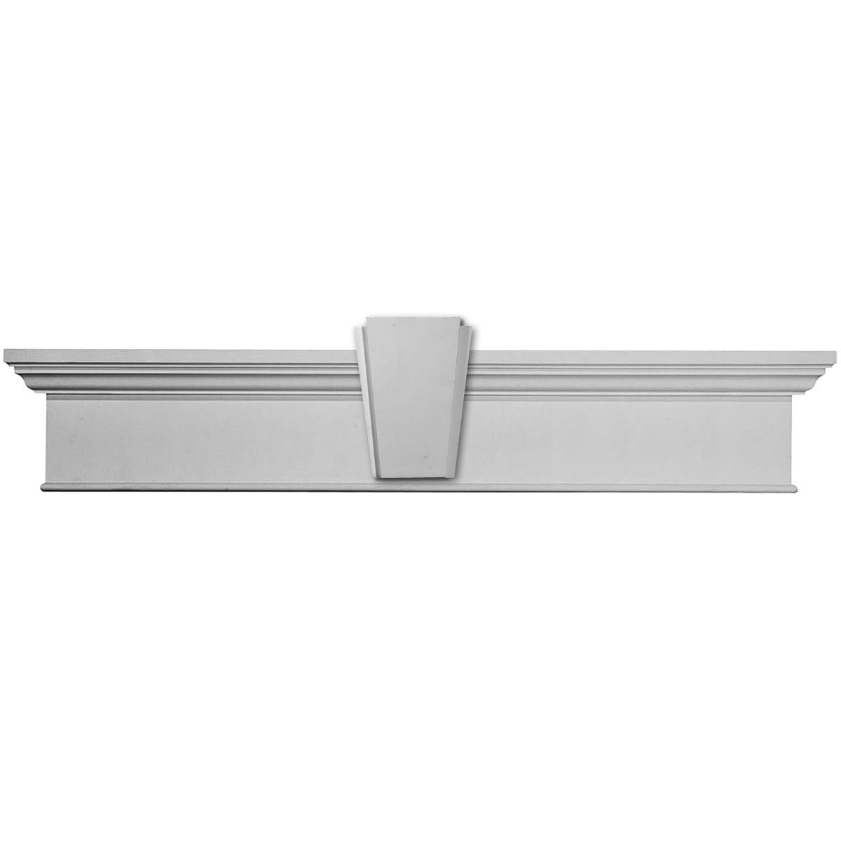 """Window Header / 190"""" / CRH07X190BTKA Traditional Crosshead with Bottom Trim w/ Deco Keystone  1/4""""H x 1""""P 0"""