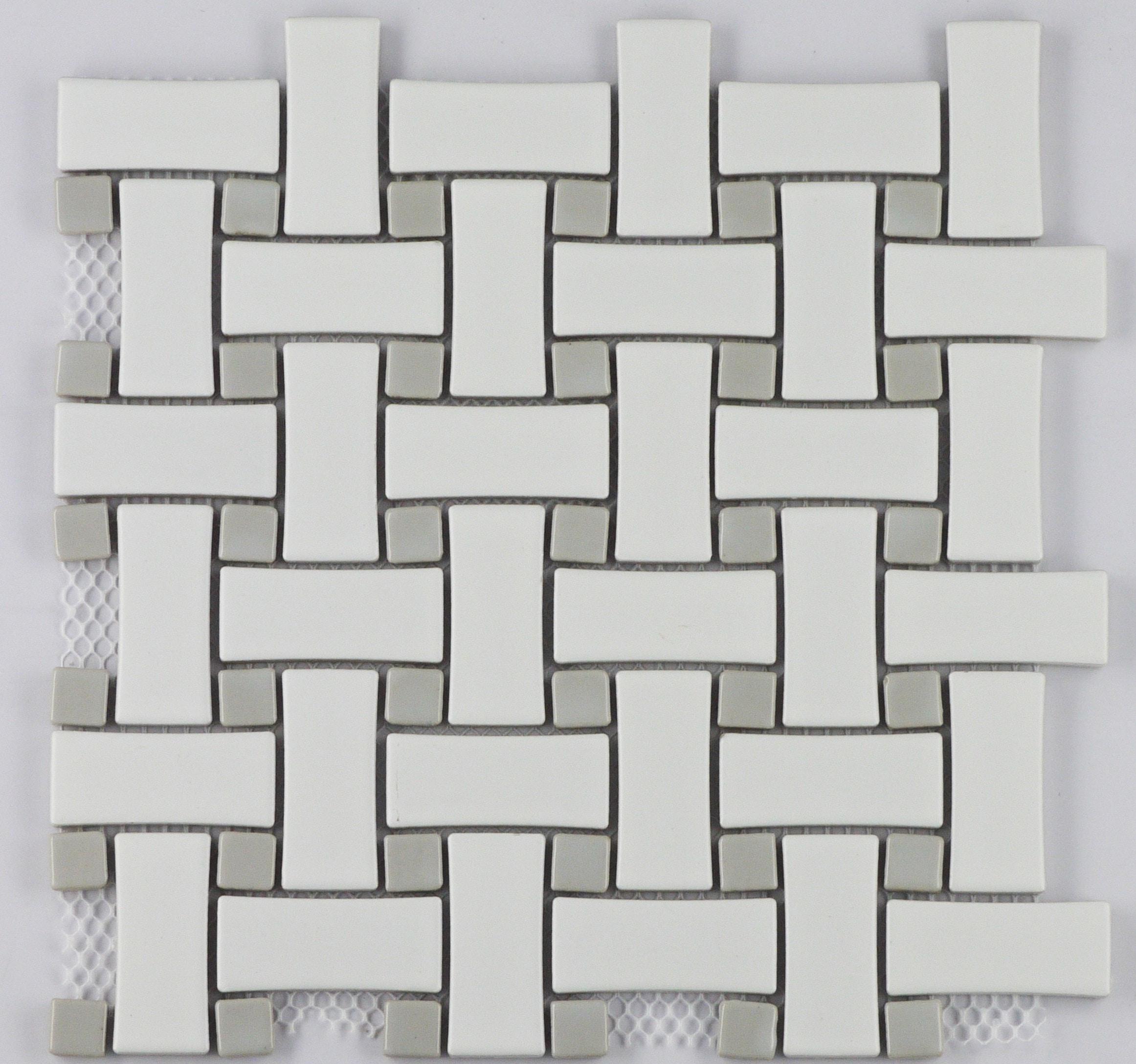 White Matte w/ Grey Gloss Dot / Matte Finish with Glazed Insert Porcelain Mosaic Basketweave Pattern 0