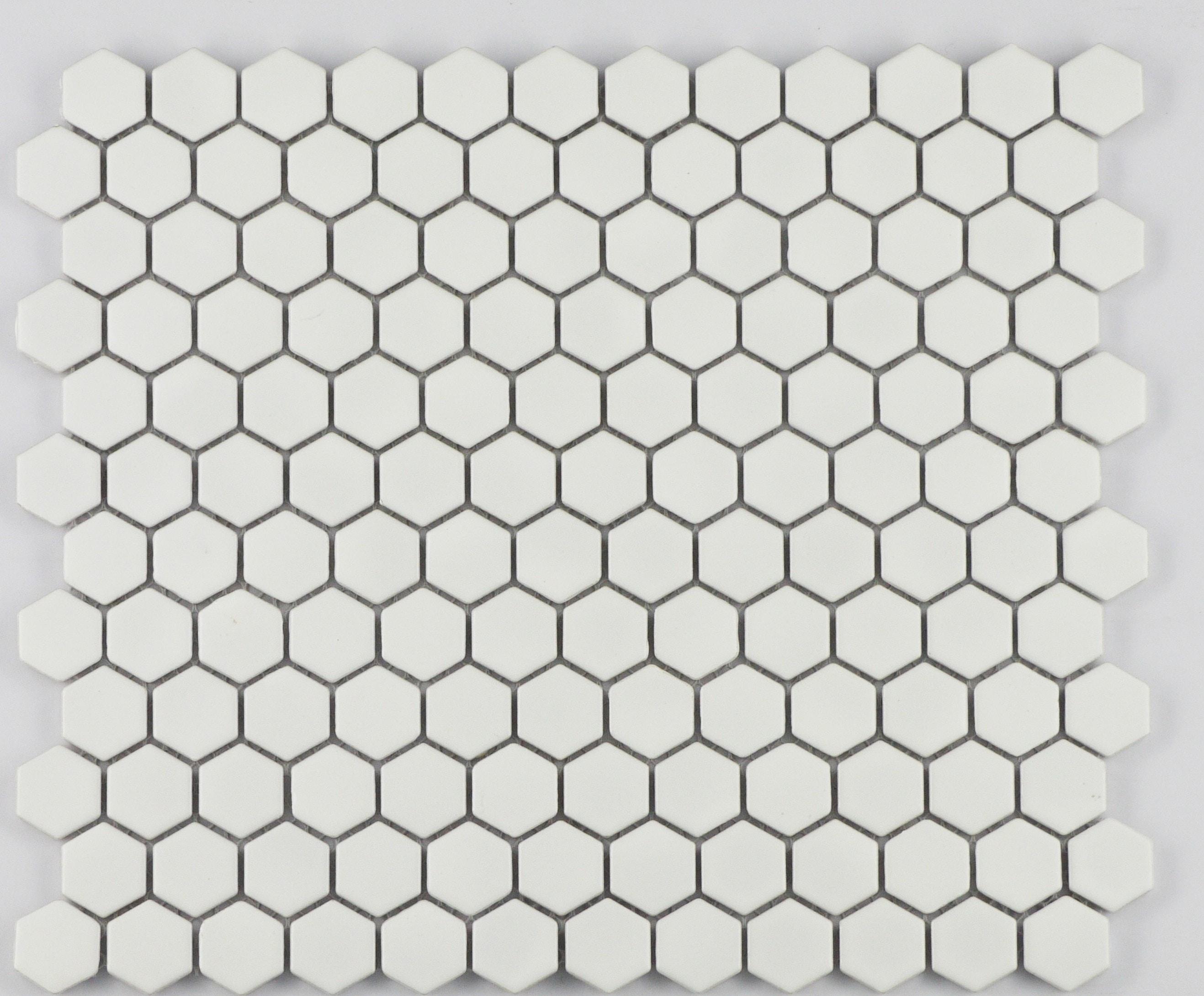 "1"" White Matte Hexagon / 1"" / Matte Finish Porcelain Mosaic 1"" Hexagon 0"