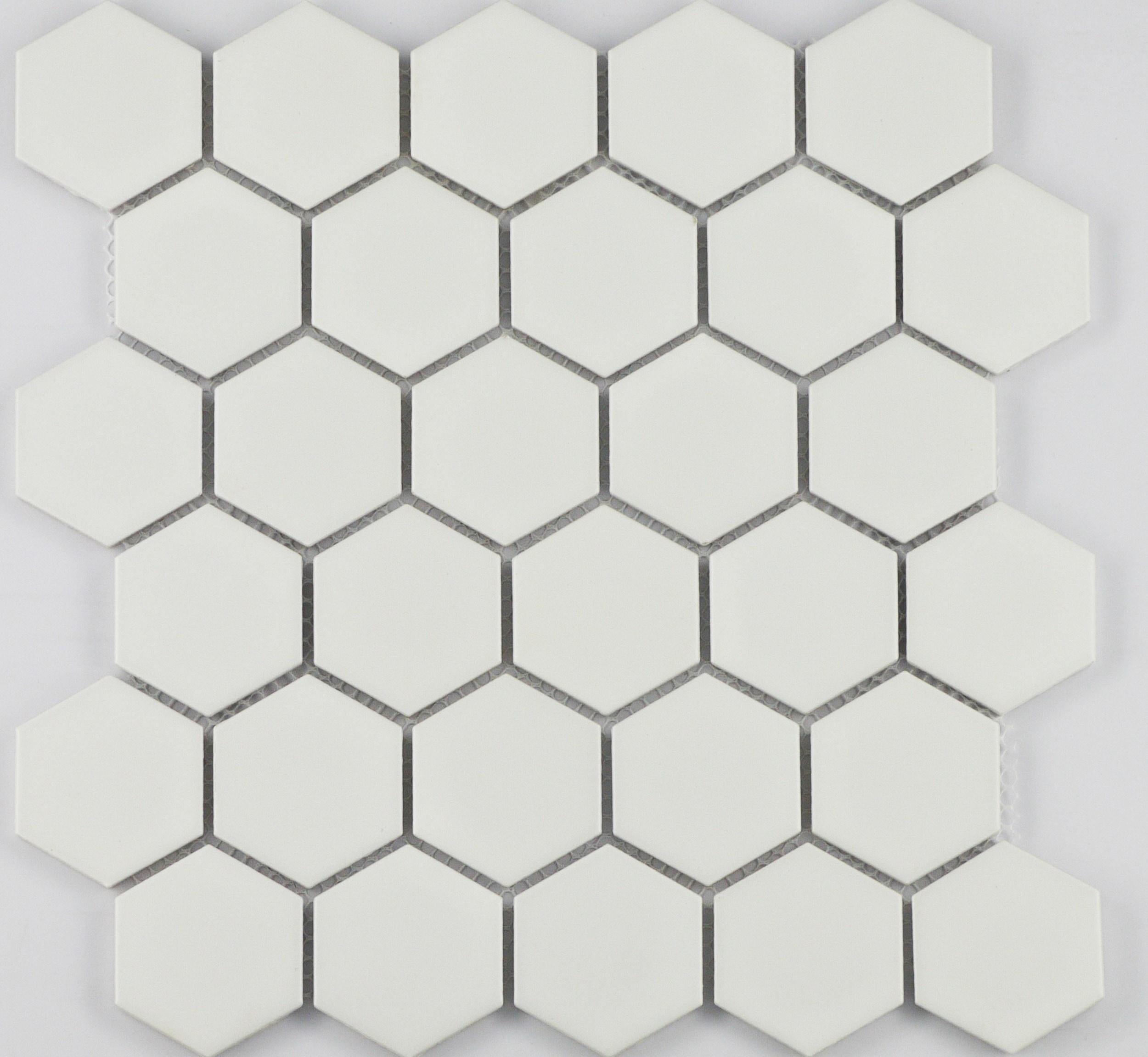 "2"" White Matte Hexagon / 2"" / Matte Finish Porcelain Mosaic 2"" Hexagon 0"