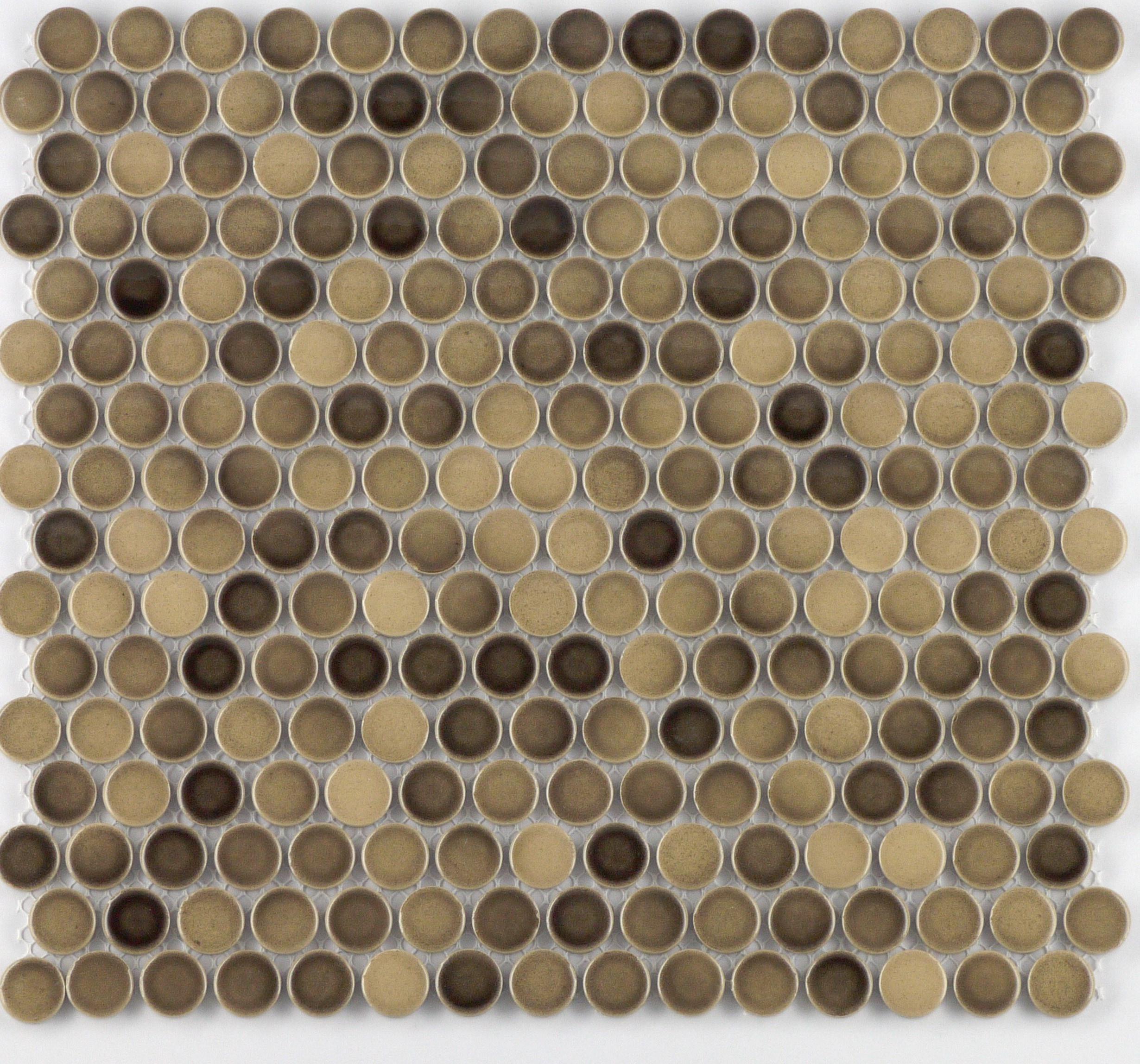 "Latte Gloss Penny / 3/4"" / Glazed Gloss Porcelain Mosaics Penny Rounds 0"